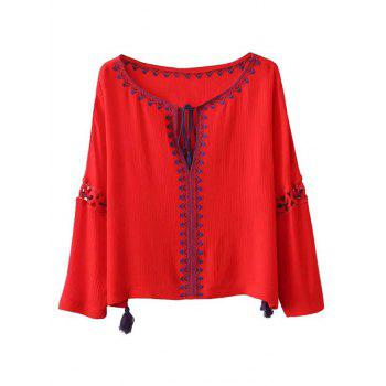 Ethnic Bohemia Embroidery Tassel Lace-Up Blouse - RED RED