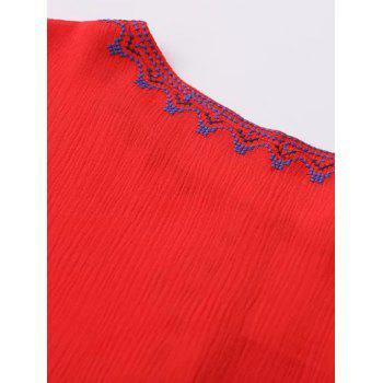 Ethnic Bohemia Embroidery Tassel Lace-Up Blouse - RED M