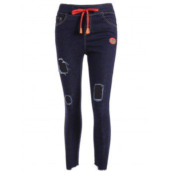 Ripped Drawstring Jeans - DEEP BLUE XL