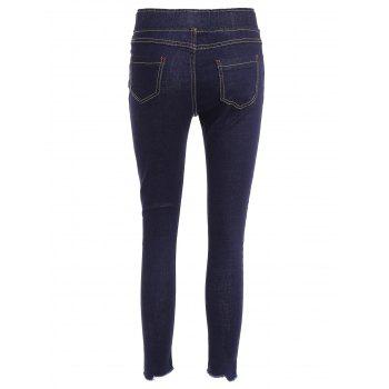 Ripped Drawstring Jeans - DEEP BLUE DEEP BLUE
