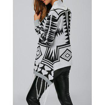 Geometric Fringe High Low Cardigan