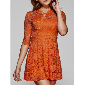 See-Through Lace Skater Dress with Frog Button