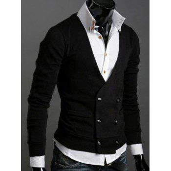 Double-Breasted Long Sleeves Cardigan - BLACK M
