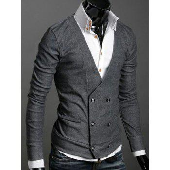 Double-Breasted Long Sleeves Cardigan - DEEP GRAY M