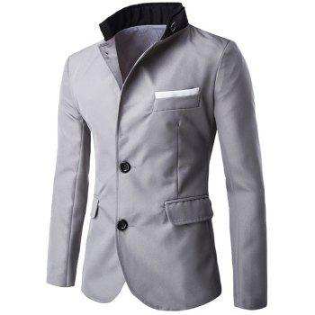 Two Button Embellished Flap Pocket Blazer