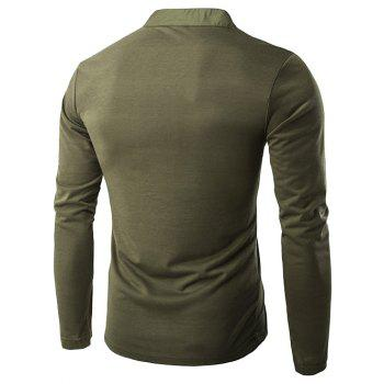 Half Single-Breasted Embellished Long Sleeve T-Shirt - ARMY GREEN 2XL