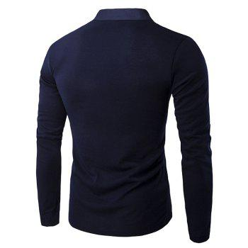 Half Single-Breasted Embellished Long Sleeve T-Shirt - CADETBLUE M