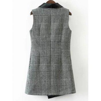 One Button Houndstooth Waistcoat - WHITE/BLACK WHITE/BLACK