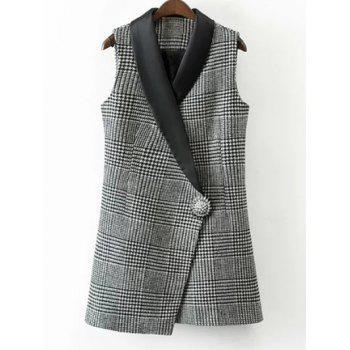 One Button Houndstooth Waistcoat - WHITE AND BLACK WHITE/BLACK