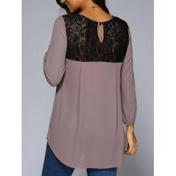 Lace Patchwork High Low Hem Blouse