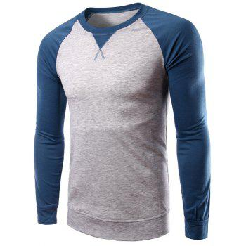 Color Splicing Long Raglan Sleeve T-Shirt
