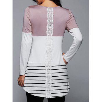 Long Striped Lace Panel Long Sleeve T-Shirt - LIGHT PINK M