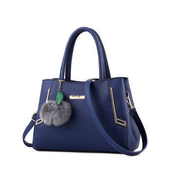 Pompon Metal PU Leather Tote