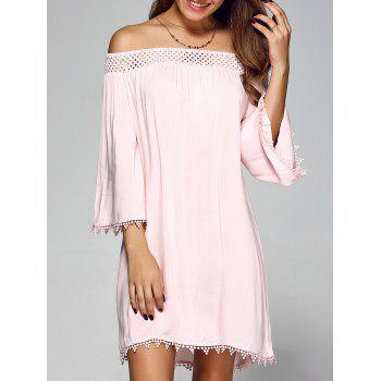 Off Shoulder Lace Trim Tunic Casual Dress