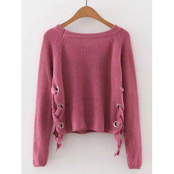 Late Fall Circle Hoop Lace-Up Sweater - WATERMELON RED M