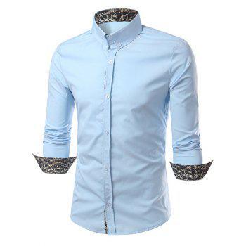 Leopard Splicing Slimming Long Sleeves Shirt - LIGHT BLUE M