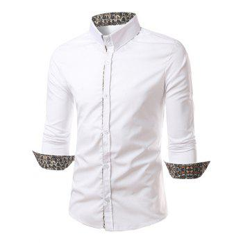Leopard Splicing Slimming Long Sleeves Shirt - WHITE M