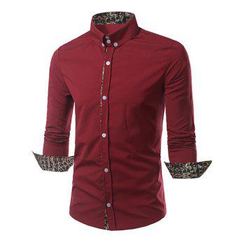 Leopard Splicing Slimming Long Sleeves Shirt - RED M