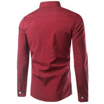 Manches longues Cartoon Imprimer Splicing Shirt - Rouge L