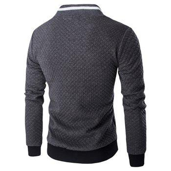 Rib Splicing Argyle Knurling Stand Collar Jacket - GRAY L