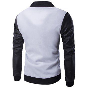 Zipper Pocket PU Leather Splicing Jacket - WHITE XL