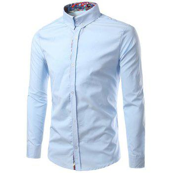 Ethnic Style Pattern Splicing Turn-Down Collar Button-Down Shirt - LIGHT BLUE XL