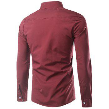 Ethnic Style Pattern Splicing Turn-Down Collar Button-Down Shirt - RED M