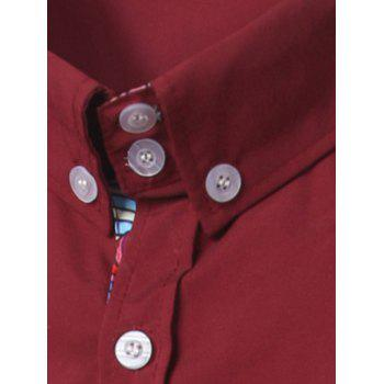 Ethnic Style Pattern Splicing Turn-Down Collar Button-Down Shirt - RED L
