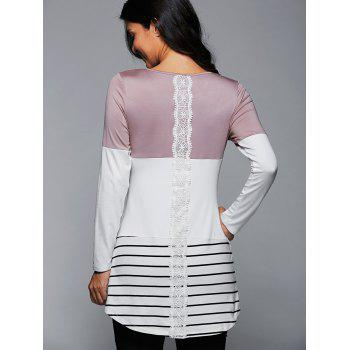 Long Striped Lace Panel Long Sleeve T-Shirt - LIGHT PINK LIGHT PINK