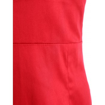 Vintage Square Neck Bowknot Draped Pin Up Dress - RED M