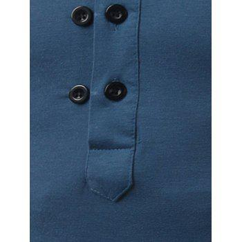 Button Up Long Sleeve Henley Shirt - BLUE L