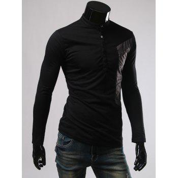 Long Sleeve Color Splicing Button Embellished T-Shirt - BLACK M