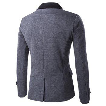 Color Splicing Inclined Zipper Fly Irregular Jacket - GRAY XL