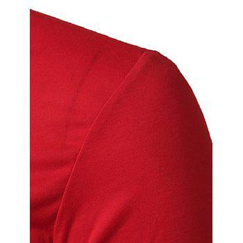 Rayures Motif Rib Splicing T-shirt manches longues - Rouge XL