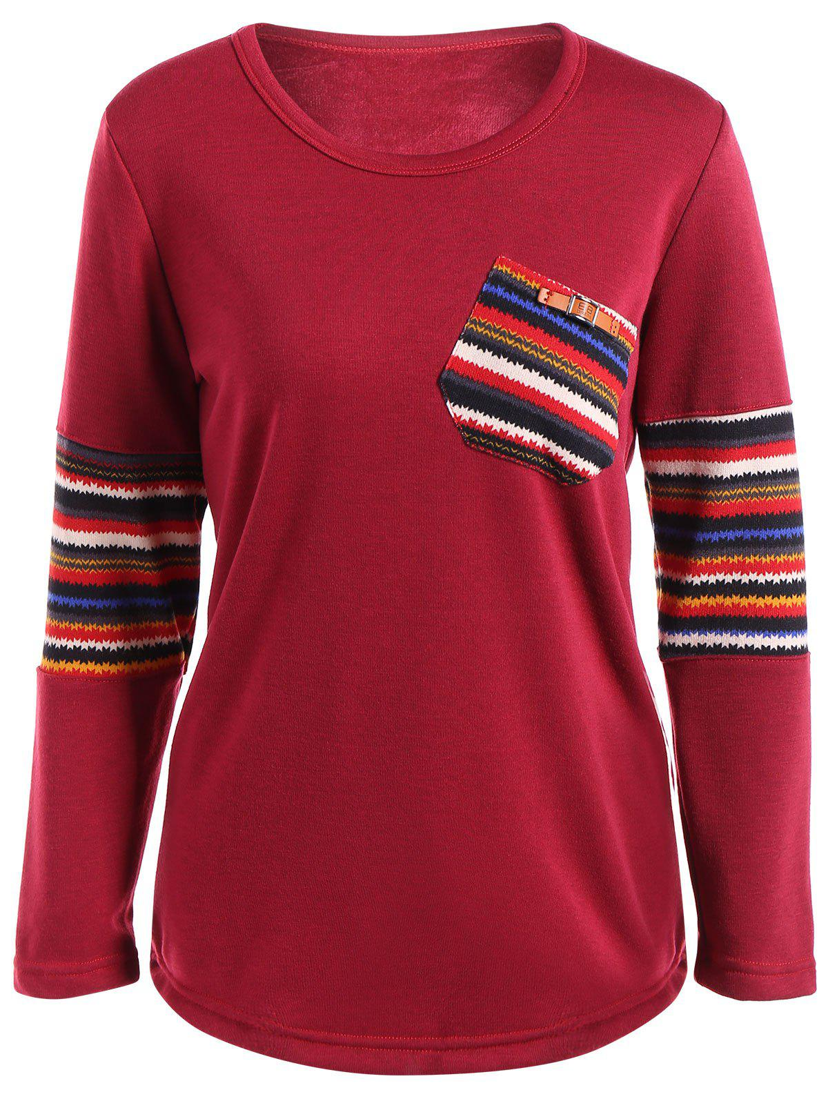Ethnic Print Spliced Pocket Design T-Shirt - RED 3XL