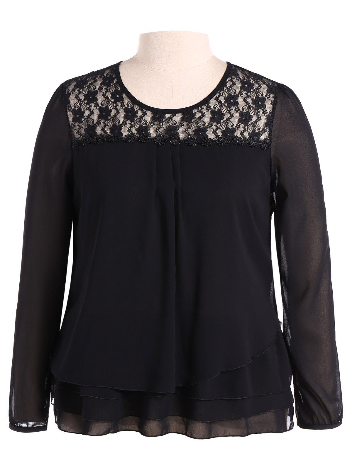 Plus Size Lace Trim Long Sleeve Chiffon Blouse lace trim asymmetric chiffon long sleeve blouse