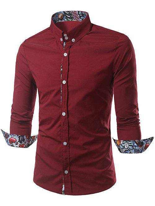 Long Sleeves Cartoon Print Splicing Shirt - RED L
