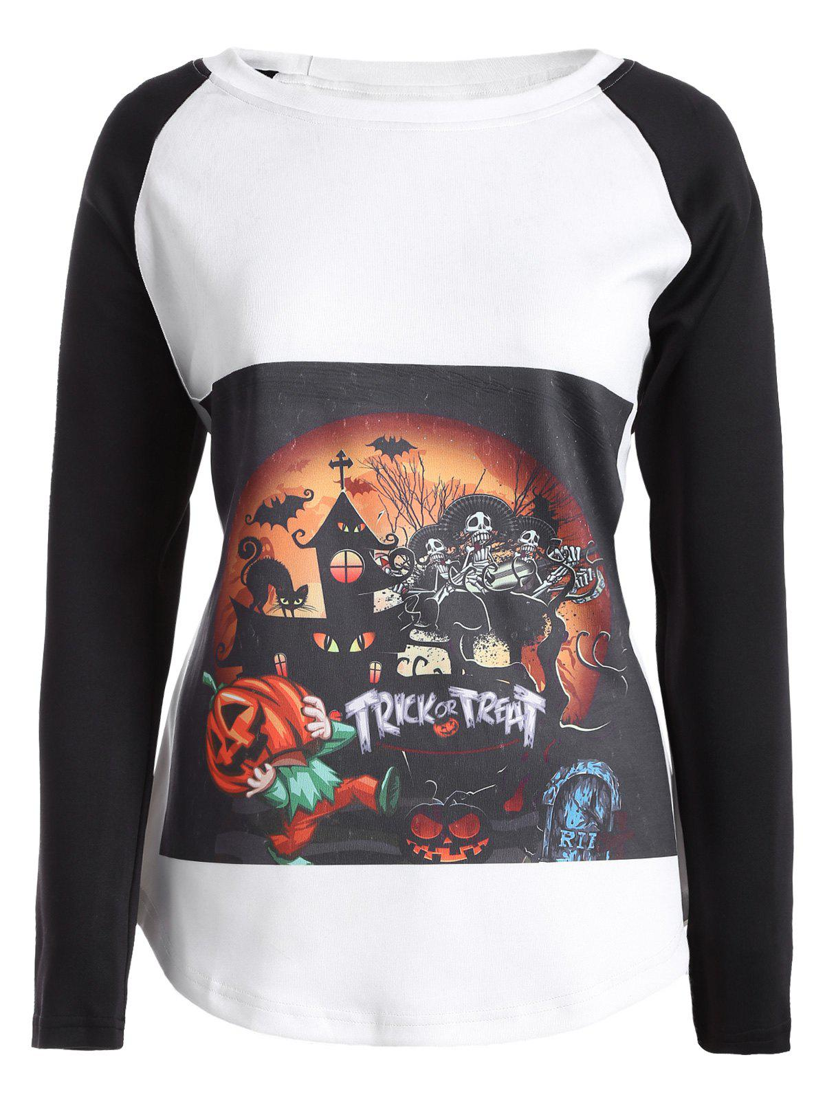 Halloween Raglan manches T-shirt - Blanc XL
