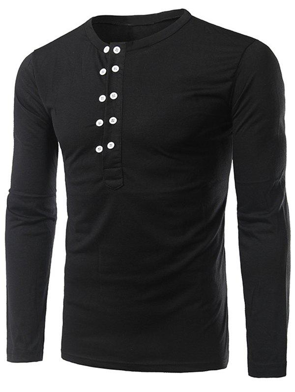 Button Up Long Sleeve Henley Shirt - BLACK XL