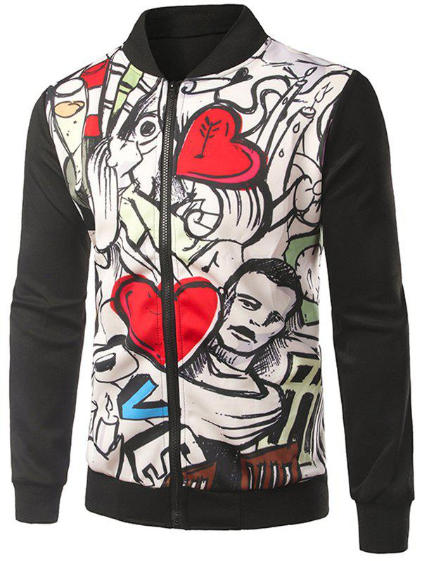 Rib Inset Heart Print Zip Up Jacket - BLACK 2XL