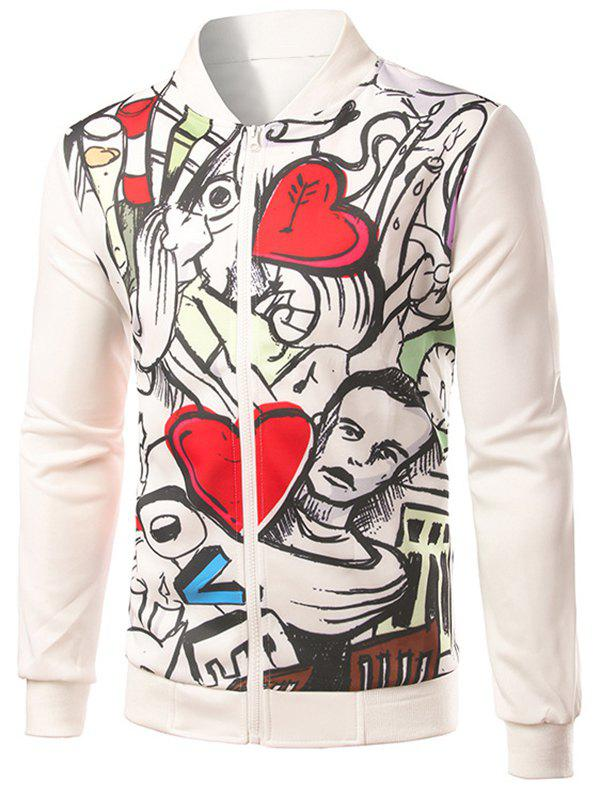 Rib Inset Heart Print Zip Up Jacket - WHITE L