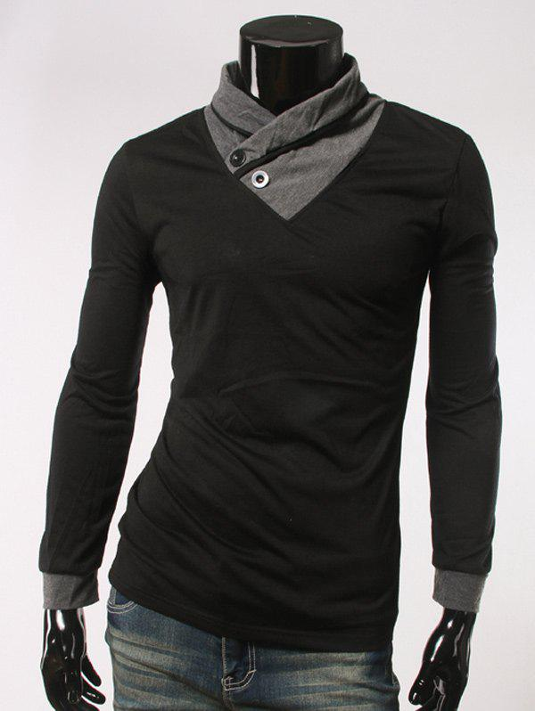 Slimming Single Button Embellished Long Sleeve T-Shirt - BLACK M