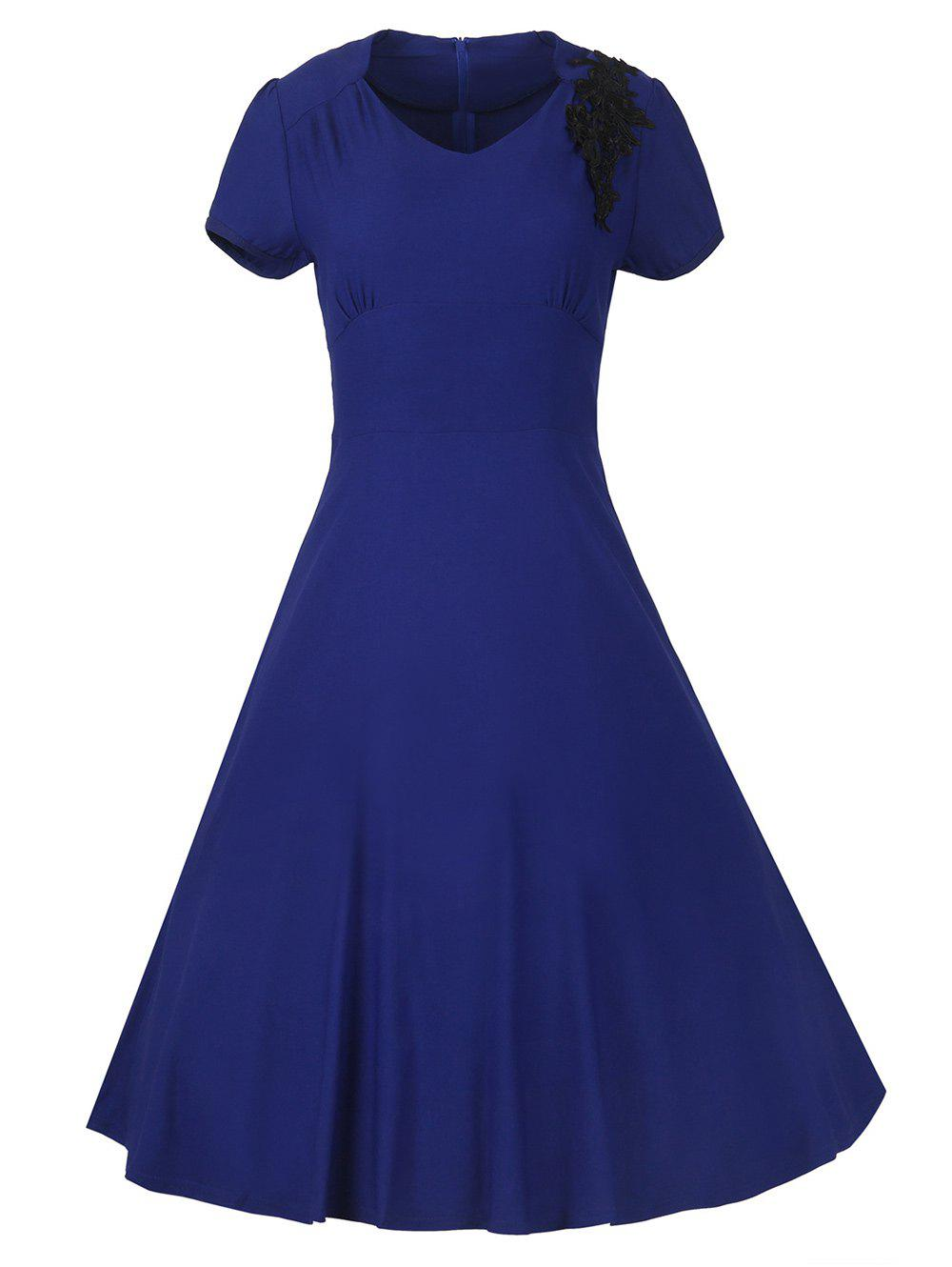Vintage Swing High-Waist Embroidery Zippered Dress - SAPPHIRE BLUE M