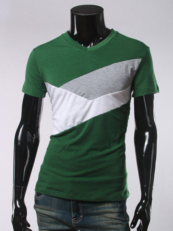 V Neck Short Sleeve Slimming T-Shirt - BLACKISH GREEN 2XL