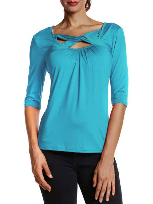 Fit Front Criss Cross TeeWomen<br><br><br>Size: M<br>Color: LAKE BLUE