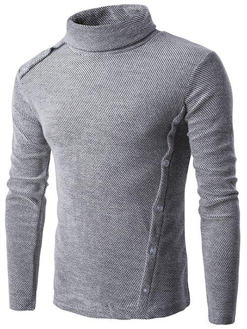 Long Sleeve Button Design Turtleneck Sweater button design long sleeve turtleneck sweater