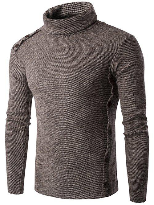 Long Sleeve Button Design Turtleneck Sweater - COFFEE L
