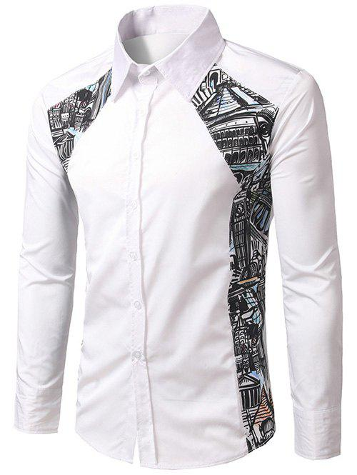 Printed Button Up Paneled Shirt - WHITE M
