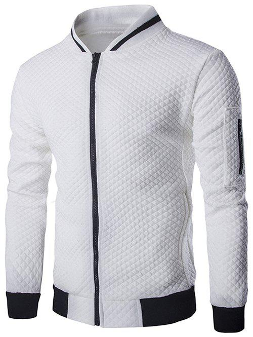Rib Splicing Argyle Knurling Stand Collar Jacket - WHITE L