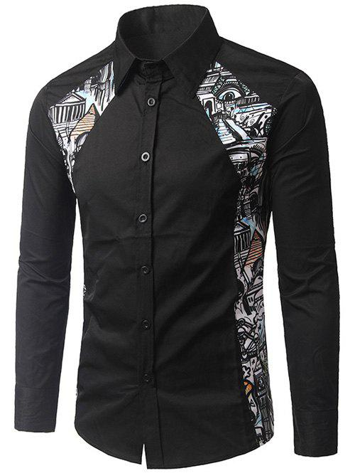 Printed Button Up Paneled ShirtMen<br><br><br>Size: 2XL<br>Color: BLACK